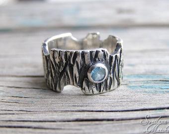 Silver Bark Ring, Woodgrain ring, Tree ring, Wedding band, Rustic ring Bark, Engagement  Ring, Nature ring,Woodland Silver Ring,Elvish ring