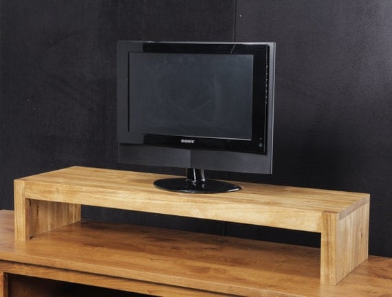 Modern tv riser stand rustic solid wood by jdihome on etsy