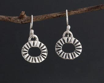 Sterling Silver Radial Stamped Earrings - Small Earrings - Small Dangle Earrings - Tiny Earrings - Sunburst Earrings - Silver Earrings - 925
