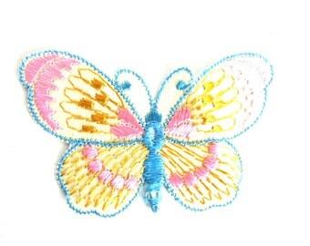 Butterfly applique, 1930s vintage embroidered applique. Vintage patch, sewing supply. Applique, Crazy quilt. #64AGC8K2C