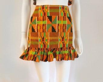 "The ""kente'' High-waist Ruffle Mini skirt"