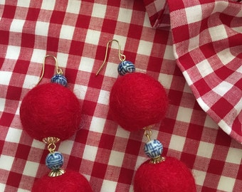 Pom Pom Earrings - RED, blue and white, royal blue, chinoiserie, gold, beaded, dangle, pompom, bonbon, red white and blue