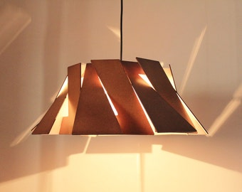 Wood Pendant Light - Modern Chandelier Lighting - Hanging Dining Lamp - Ceiling Light Fixture - Geometric - Minimal - P2