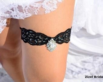 Black Wedding Garter Set Lace Garters Bridal Rhinestone