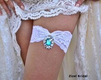 Wedding Garter, White Garter, Bridal Garter Set, Rhinestone Garter, Teal Garter, Crystal Garter, Garter Set, White lace Garter, White Garter