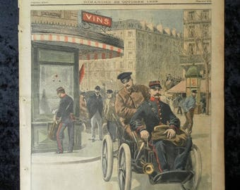 Postmen Paris 1899 by car. A tragic corrida (bull fight) near Paris. The Transvaal. Illustrated supplement to the Petit Journal no. 466