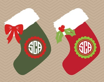 santa stockings with monogram christmas socks tree gift present dxf svg png winter silhouette studio