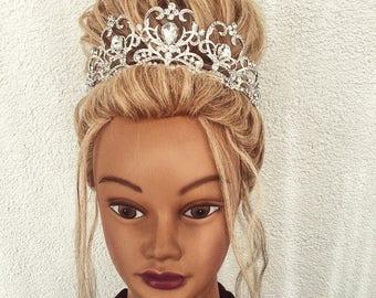 Bridal Crown/Swarovski Crystal Wedding Crown/Silver Bridal Diadem/Crystal Wedding Tiara/Diamante Tiara/Bridal Tiara/Silver Crown/pageant