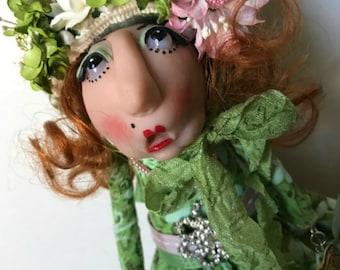Cloth Doll, Wood Doll, Whimsical Doll, Polymer Clay Doll, Shabby Chic Lady