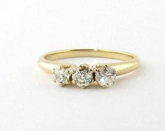Vintage 14K Yellow Gold 3 Old Mine Diamond Ring Size 6.75 #586
