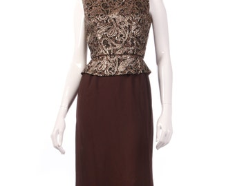 Brown hand made vintage dress with gold patterned peplum size 8/10