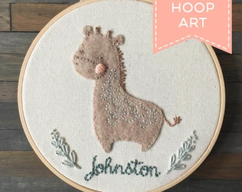 Custom Nursery Embroidery Hoop Art. Personalized Hoop Embroidery Gift. Animal Nursery Decor. Baby Name Embroidery.  Baby Shower Gift.