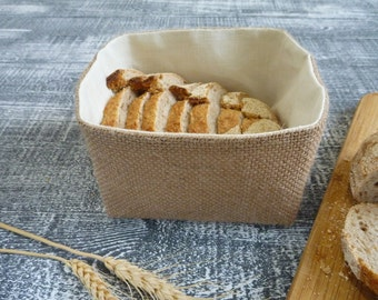 Burlap basket, Storage basket, Burlap storage bin.