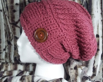 Cable Slouch Hat, Slouchy Hat, Gift for Her, Handmade Crochet, Rose Pink, Acrylic, Warm-Stylish, Ready to Ship, Pink Hat with Button Trim