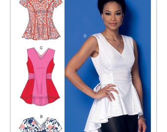 Sewing Pattern for Misses' V-Neck Fit and Flare or Godet Tops, McCall's Pattern 7356, Plus Sizes, Peplum Blouse, Tie Sash Top
