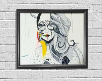 Woman Art Black And White Unique Artwork Original Painting Living Room