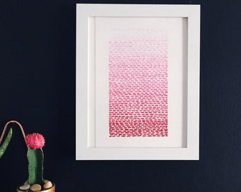 Pink Gradient Line Painting