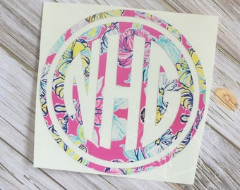 Lilly Pulitzer Inspired Double Circle Monogram Decal | Yeti Decal | Lilly Monogram Decal | Monogram Decal | Rtic Decal | Car Decal | Preppy