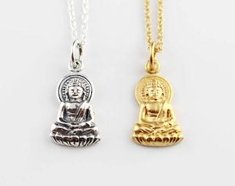 Silver Buddha Necklace, Gold Buddhist Necklace, Buddha Pendant, Buddha Charm, Buddha Lotus Necklace, Spiritual Necklace, Yoga Necklace
