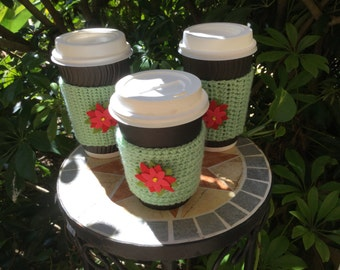 cup cozy ,beverage sleeve, coffee cup cozy, tea cup cozy, coffee cup sleeve, stocking stuffers,Christmas  gifts, set of 3