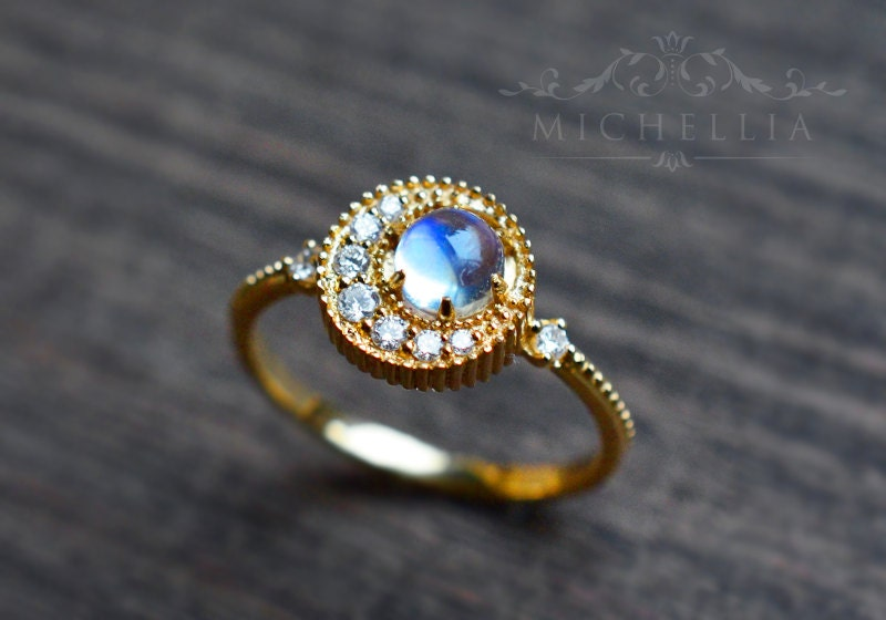 moonstone rings with stars - photo #2