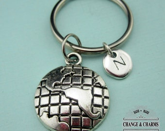 World Globe Keychain, World Keychain, Globe Keychain, World Charm, Custom Keychain, Personalized Keychain,Initial Charm,Silver Plated,CET003
