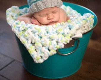 Turquoise Striped Baby Boy Beanie, Knit Infant Winter Hat for Boy, Newborn Photography Prop, Big Pom Pom Baby Hat, Baby Shower Gift for Boy