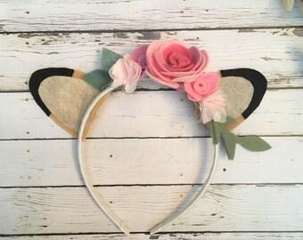 Woodland Headband, Deer Headband,  woodland baby shower, Deer Ears, Woodland Flower Crown, Boho Headband, Fawn Headband, Woodland Birthday
