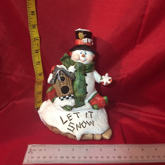 Ceramic snowman let it snow