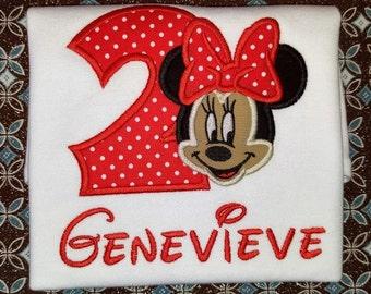 Personalized Minnie Mouse Shirt - Minnie Birthday Shirt - Minnie Mouse Birthday - First Birthday - Second Birthday - Third Birthday Disney