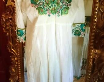 Vintage Indian Embroidered Boho Dress with Pom Pom Fringe