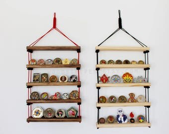 Paracord Military Coin Display, 550 Cord Military Coin Rack, Adjustable, Wall Hanging, Challenge Coin Display, Military Display, Army Gift