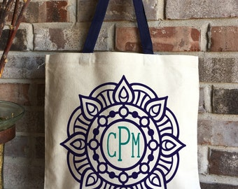 Monogram Mandala Book Bag - Unique Graduation Gift - Personalized Teacher Appreciation Gift - Yoga Bag - Large Canvas Tote Bag - Teacher Bag