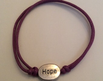 Hope - Wax cord sliding knot bracelet