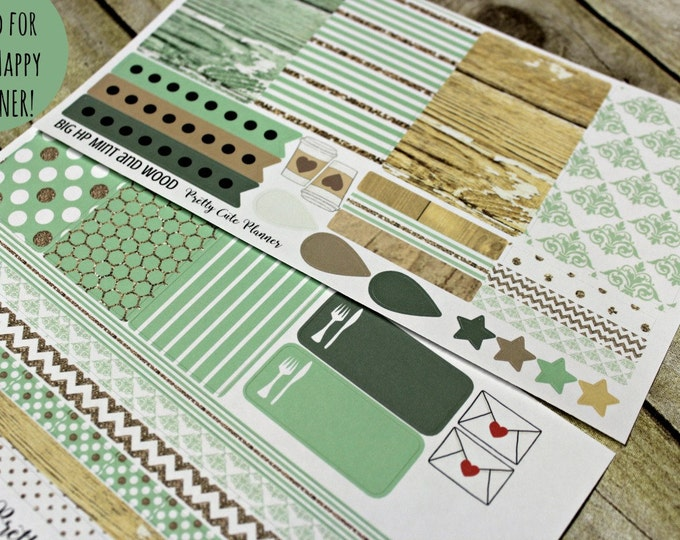 BIG Happy Planner Planner Stickers - Weekly Planner Sticker Set - Happy Planner - Day Designer - Functional stickers - Minted Wood