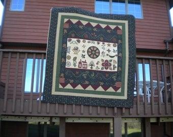 Fall Folk Art Wallhanging or sofa throw