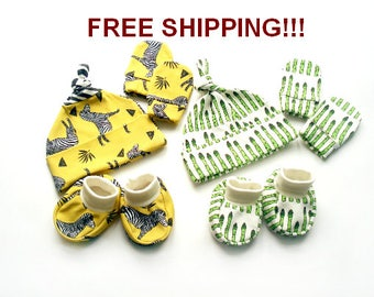 FREE SHIPPING Organic cotton Clothing Set 0-3 months : Hat + Mittens + Booties newborn pants clothes newborn Hat Organic Baby Gift