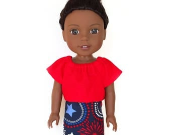 Mini Skirt, 4th of July, Fireworks, Red, White, Blue, Fits dolls such as Wellie Wishers Doll Clothes, 14.5 inch, Spring, Summer