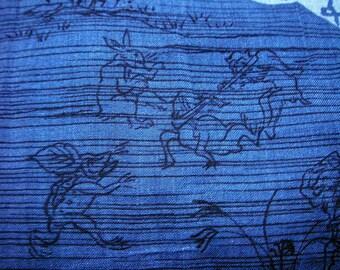 299: Japanese vintage kimono men's jyuban wool animal frog rabbit monkey tea-set blue brown white chrysanthemum