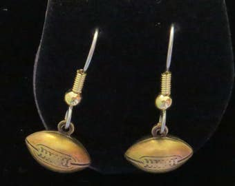 Football Earrings 3D Fully Dimensional Footballs Antiqued Brass Sports  EG535