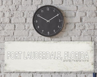 Fort Lauderdale Florida Wall Canvas, Fort Lauderdale Vintage City Canvas, Printed on Canvas, Vintage Wall Decor, Vintage Wall Art