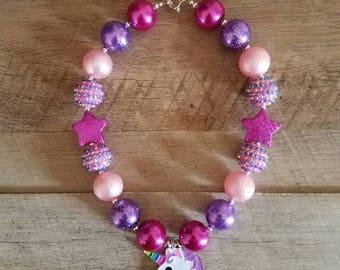 Unicorn Chunky Necklace, Unicorn Pink Purple Chunky Necklace, Baby Necklace, Bubblegum Bead Necklace, Unicorn Birthday, Cake Smash Necklace