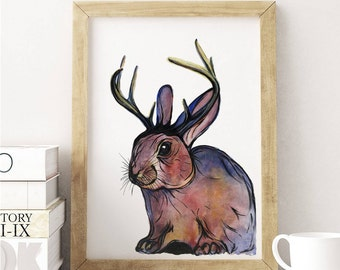 Jackalope Art. Watercolor Painting. Original 8x10 Print. Home Decor. Wall Art. Animal Print Rabbit Art.