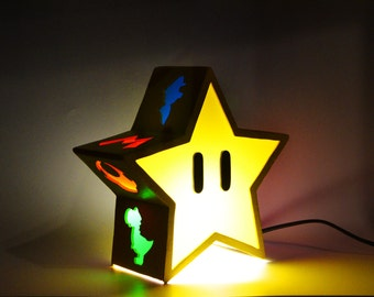 Ambient light of Invincible Star from Super Mario Bros. Decoration lamp, home decor, illumination, wood. Nintendo, game, videogame, geek.