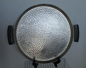 "Vintage 1940's ""Beehive""  Hammered Aluminum Tray Madrid Metal Manufacturing Serving Tray, Spanish Metal Tray"