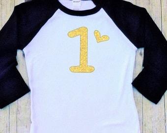 One Birthday Shirt-Girls First Birthday Shirt-Girls 1st Birthday Shirt-1 Birthday Shirt-Gold Glitter-Pink-Smash Cake Shirt-Tailored Fit