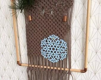 Weave macrame on frame, wall hanging, macrame, weaving modern, deco Bohemian, folk style decoration