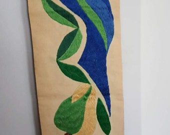 Vintage Handmade Hand Embroidered Wall Hanging of Bird and Pears in Blue and Green