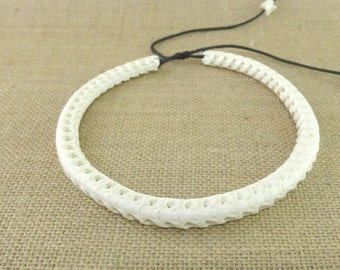 Ethnic bone necklace, vertebrae snake
