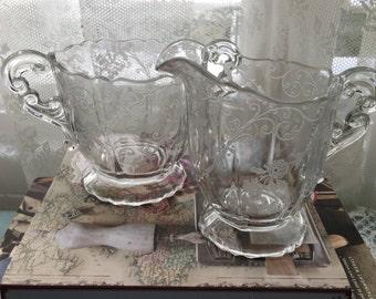 """Vintage Cambridge Glass """"Elaine"""" Pedestal Cream and Sugar Set, Mint Condition, c. 1930's"""